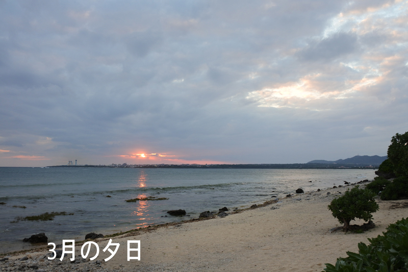 3月の夕日